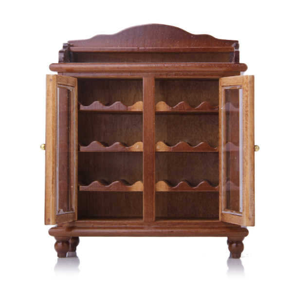 1/12 Dollhouse Miniatures Living Room Furniture Wooden Wine Cabinet - Walnut Classic Toys Pretend Play Simulation Furniture Toys