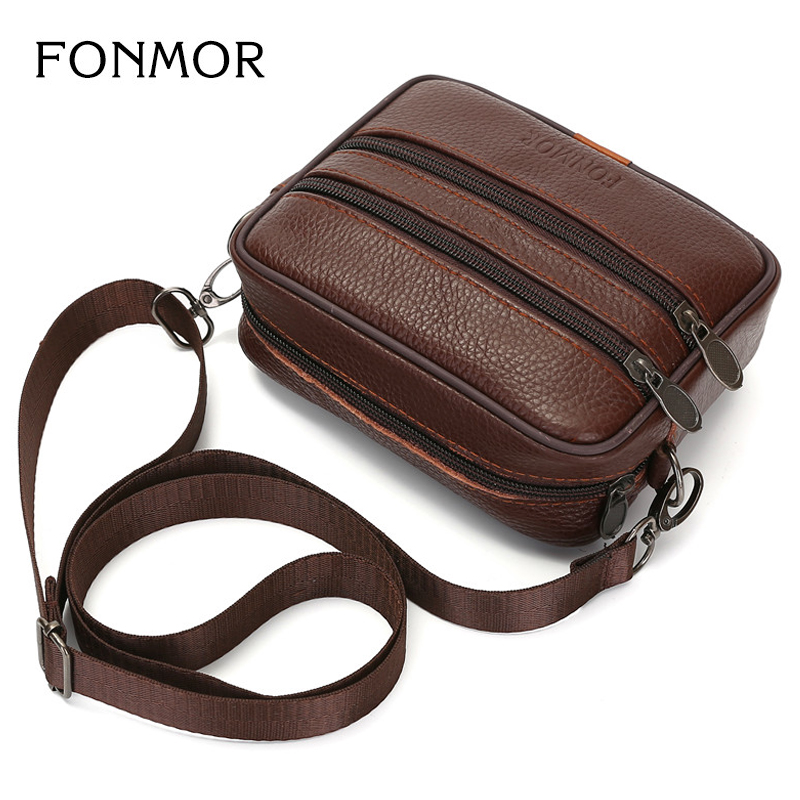 Brand Men s Shoulder Bag Genuine Leather Male Strap Small Casual Flap Crossbody Bags Double Zipper