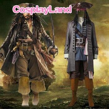 цена на Captain Jack Sparrow Costume Pirates of the Caribbean Cosplay Dead Men Tell No Tales Salazar's Revenge Suit Halloween Adult Men