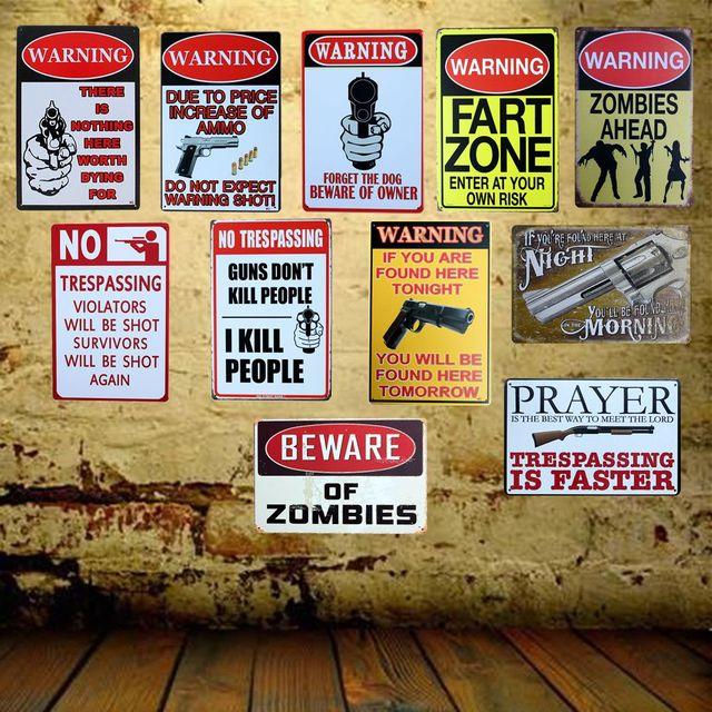 Never Mind Dog Beware Owner Gun Metal Sign Wall Painting Retro Home Bar 20×30 Cm Aa-902