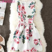 New Arrival 2018 Women Summer Dress Fashion Retro Rose Flowers Print Slim Sleeveless A-Line Mini Dress Cheap Clothes China