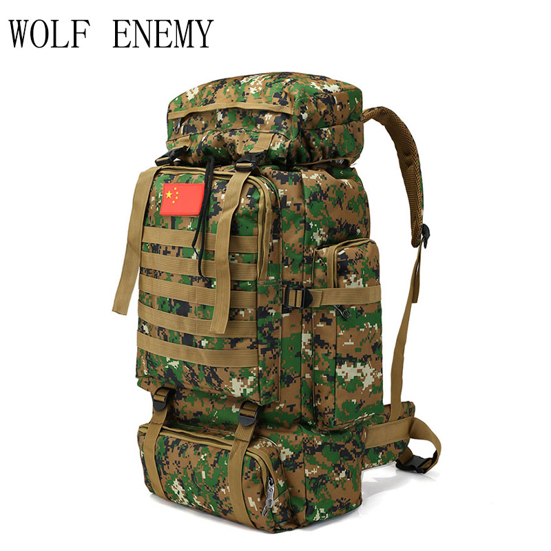 Outdoor 70L Large Capacity Mountaineering Backpack Camping Hiking Military Molle Camo Water-repellent Tactical Bag Adjustable 70l outdoor mountaineering bag large capacity tactical bag military backpack camouflage molle backpack hunting camping rucksack