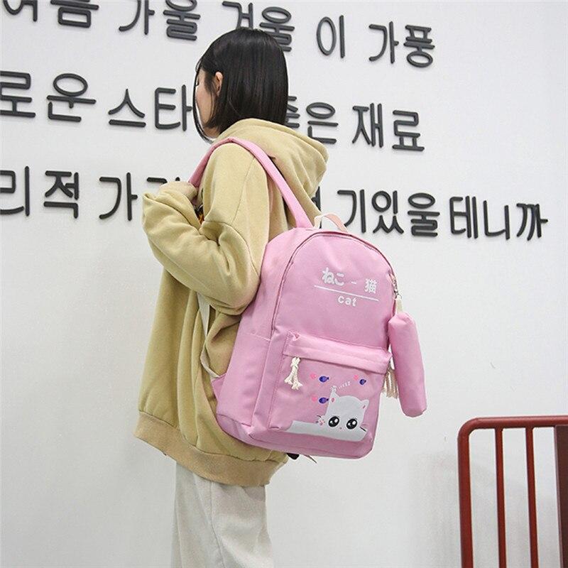 5 Schöne Katzen Tasche Für Teenager Mädchen Schule Taschen Student Zeichnungen Schöne Leinwand Kitty Druck Nette Bleistift Fall Tasche Bolsas