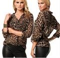 2016 Mujeres Del Nuevo Diseñador Celebrity shirt Primavera Verano Leopardo Patrón de Tela Todos Los Partidos Más El tamaño Ocasional de La Gasa Blusa de La camisa Caliente