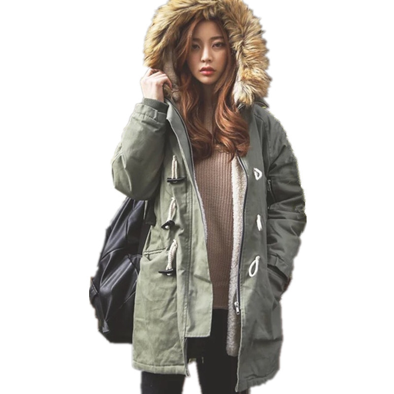 Fashion Padded Lambswool Faux Fur Collar Hood Military Winter Jacket Horn Button Loose Casual Cotton Parka Manteau Femme TT3368 zip up faux fur hood parka jacket