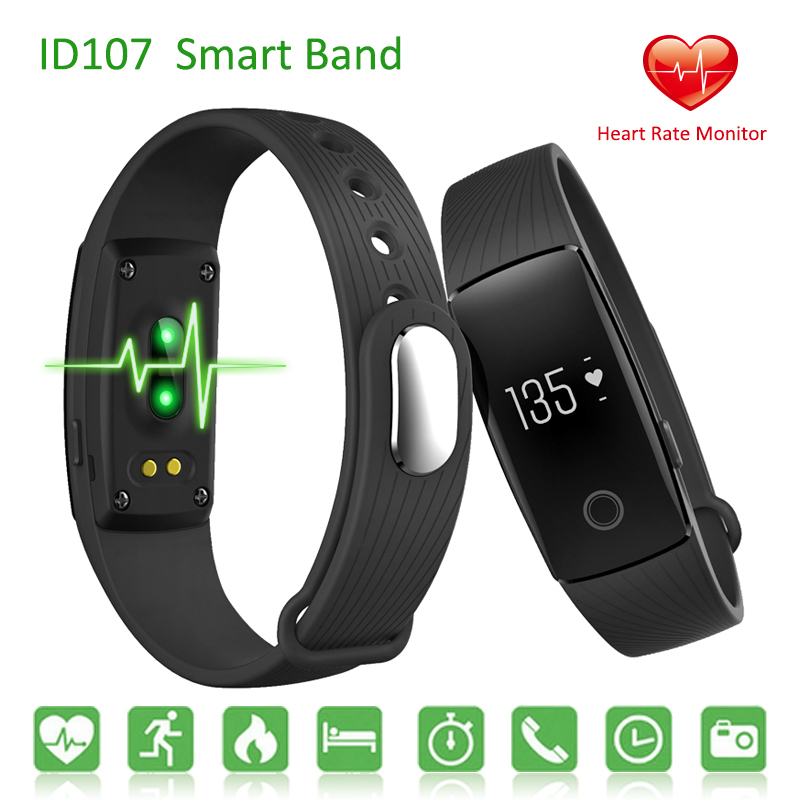 Id107 Smart Band Heart Rate Monitor Smart Wristbands Watch Bluetooth Sport Fitness Smartband For Android IOS PK Mi Band 2