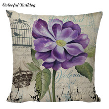 Decoración Retro púrpura flores corona funda de cojín Hada playa 18 pulgadas Lino amantes regalos abstracto Vintage pájaro para decoración del hogar almohada