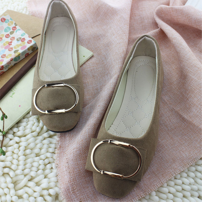 New Fashion Square Toe Flock Women Flats Shallow Mouth Slip On Spring Autumn Women Shoes Metal Ring Single Shoes Woman WSH2443