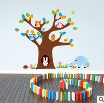 Tree And rabbit elephant owls wall sticker children room wall decals DIY Nursery hoom de ...