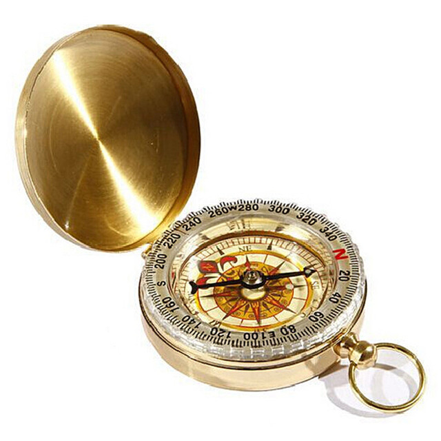 Vintage Gold compass Bronze Men Women Analog pocket watch Pendant Necklace gift