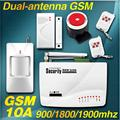 New 2 Two antenna Wireless/Wired Home Intelligent Burglar GSM Voice Alarm System 900/1800/1900Mhz Auto dial remote arm/disarm