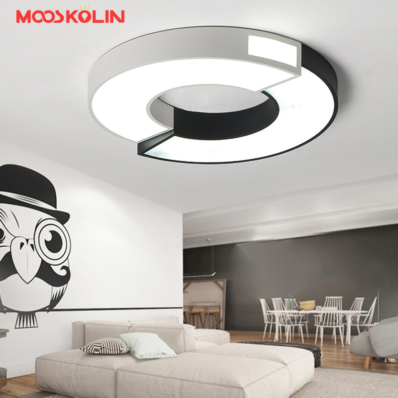 Minimalist Black and White art modern led ceiling lights for bedroom kids room Circular square home indoor ceiling lamp Fixture