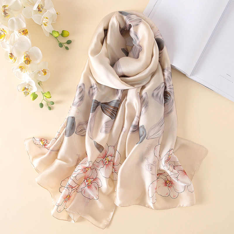 2b3926dae62bc 2019 new women silk scarf fashion floral summer lady shawls and wraps print  soft large size