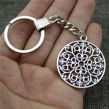 New Vintage Men Jewelry Keychain Diy Metal Holder Chain Mandala Pattern 49x44mm Antique Silver Pendant Gift