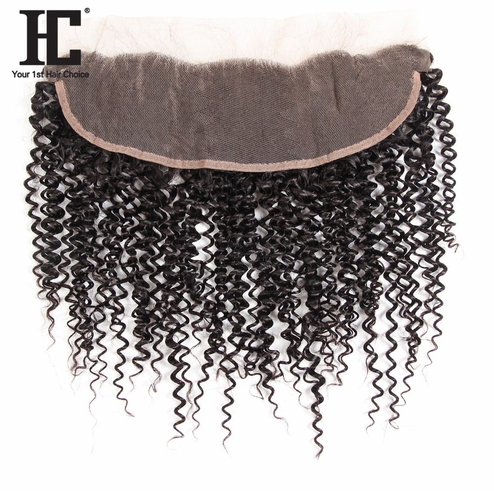 HC Hair Products Remy Ear To Ear Curly Human Hair Lace Frontal Closure With Baby Hair