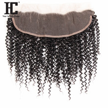 HC Hair Products Remy Ear To Ear Curly Human Hair Lace Frontal Closure With Baby Hair 13x4Inch Natural Color Can Be Dyed
