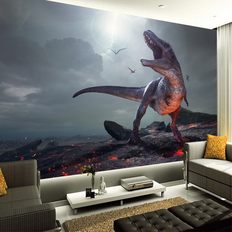 New Custom Canvas Mural Painting Vivid Dinosaur Wall Sticker PVC Poster Wallpaper Living Room Bedroom Home decor YBZ205