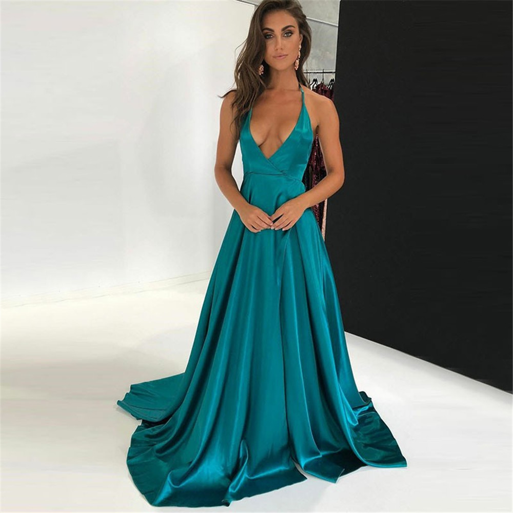 Sexy Blue Satin Evening Dress Halter Backless A Line Sweep Train Long Formal Dresses 2019 Simple Wedding Party Gowns Cheap