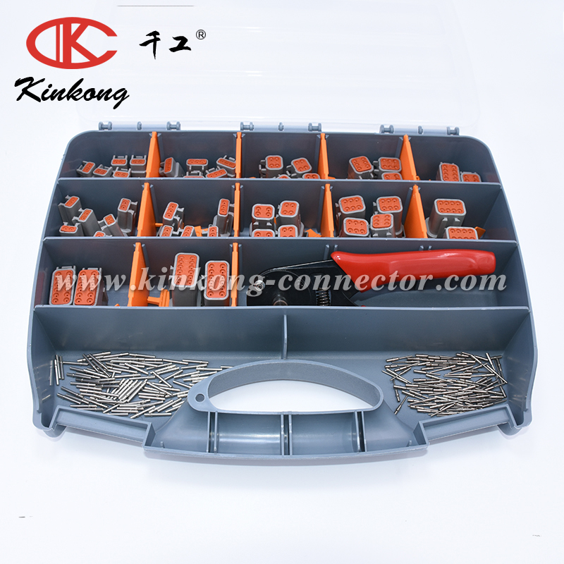 Kinkong 338 PCS Grey Deutsch DTM Series Automotive Connector Kit with Closed Barrel Crimper 20 AWG