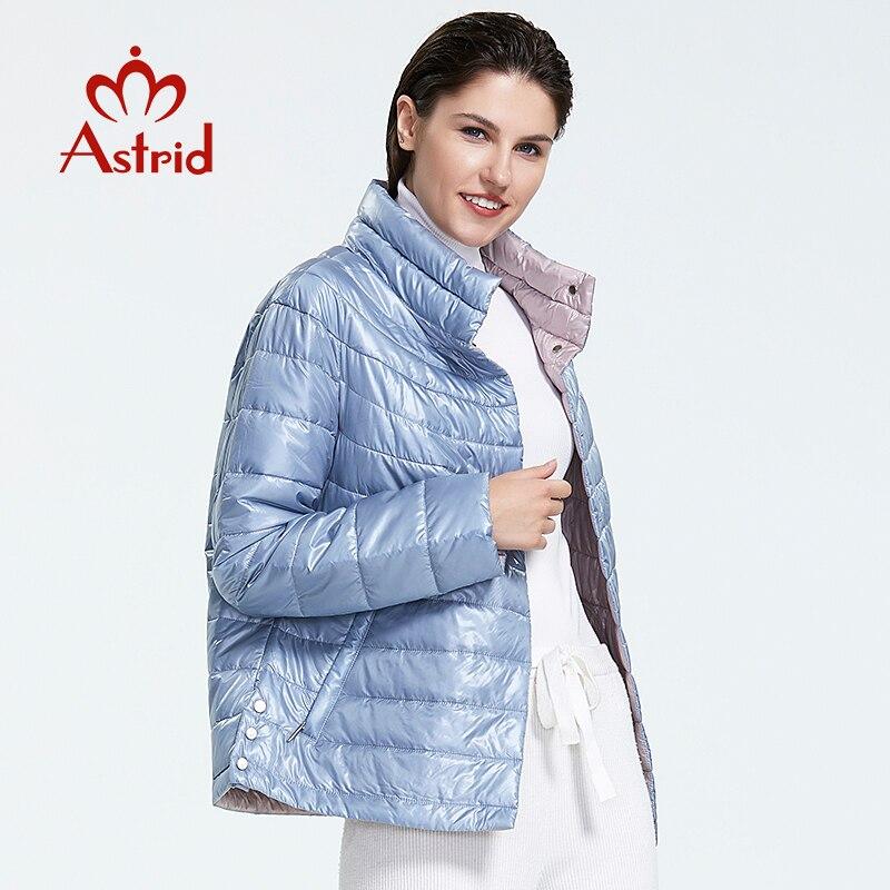 Astrid 2019 outono nova chegada superior azul plus size gola estilo curto parque com botão de pressão jaqueta de outono feminino am-1999