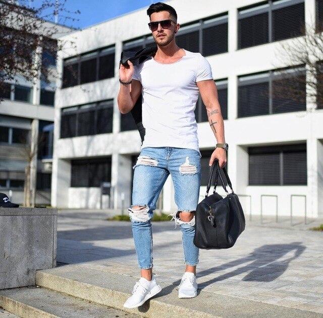 Blue Distressed Jeans Men 2018 Brand Mens Destroyed Knee Pencil Jeans Homme Hi Street Hip Hop Ripped Jeans Spijkerbroek Mannen