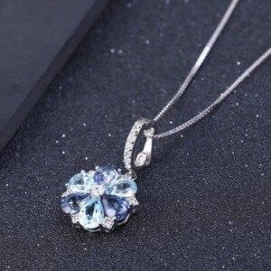 Image 4 - GEMS bale doğal mistik kuvars Sky Blue Topaz taş 925 ayar gümüş çiçek kolye kolye kadınlar için güzel takı
