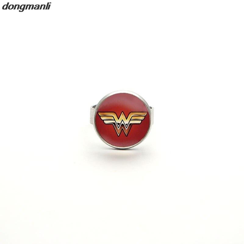 WS1277 Wonder Woman Tiara Ring with logo,Super Hero Wonder Woman Geek Engagement Ring,Girl Power Ring Movie Cosplay Jewelry