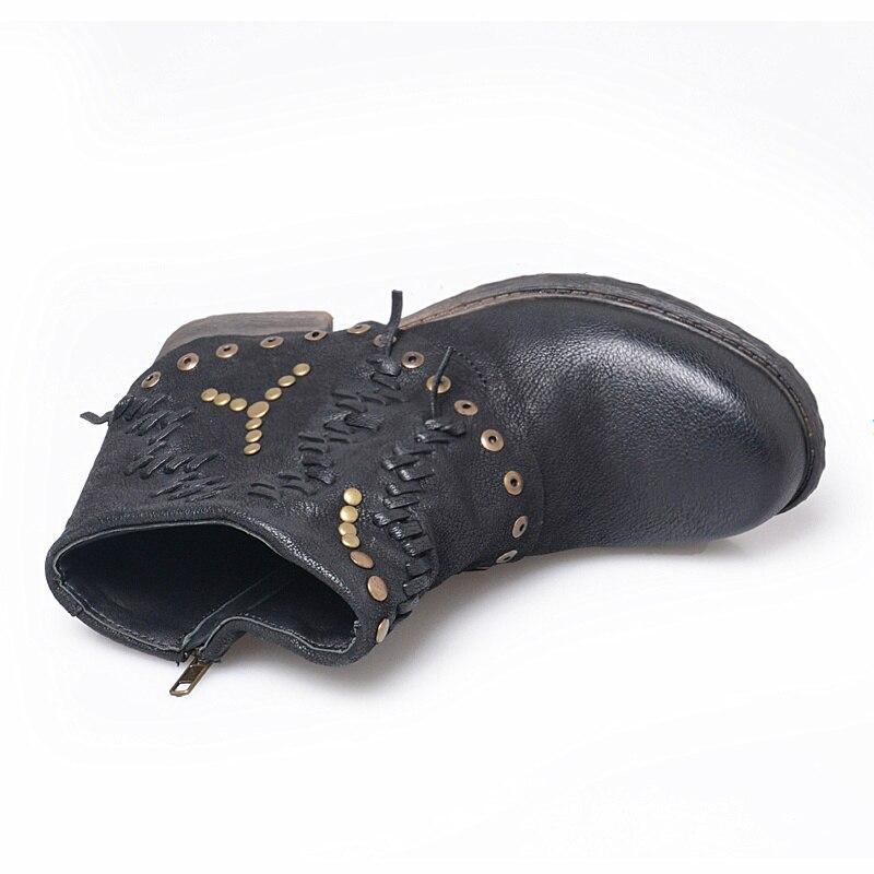 Tamaño 42 Chaussure Inside Cuero Jadyrose Pisos Bota Vintage Leather Inside red Moda Mujeres Mujer Inside Zapatos Feminina Botines Fur black Gran Black Genuino Tachonado De q7Of4qHw