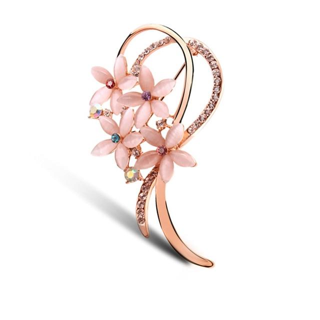 New Arrival Popular Lovely Multi-Color Corystal Rhinestone Alloy Sakura Brooches Hot-Sale Elegant Resin Lapel Pins Beauty Bijoux