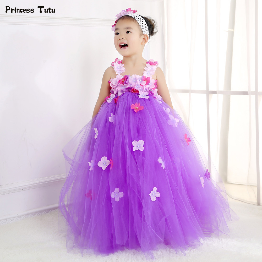 Aurora Princess Tutu Dress Flower Fairy Girl Party Dress Gorgeous Tulle Flower Girl Wedding Dresses Kids Girls Pageant Ball Gown kids tutu dress girl flower dress 2016 summer girls party dresses with gloves fashion dance dress kids girls clothes ball gown