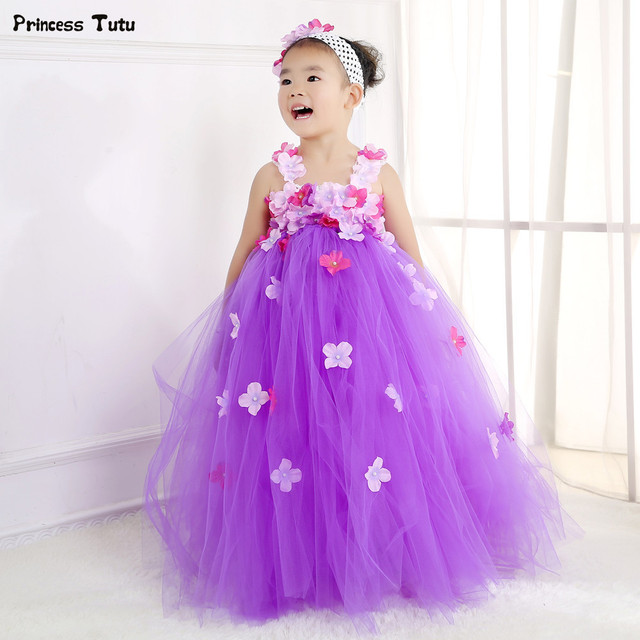 2c0e54a00a0 Aurora Princess Tutu Dress Flower Fairy Girl Party Dress Gorgeous Tulle  Flower Girl Wedding Dresses Kids Girls Pageant Ball Gown