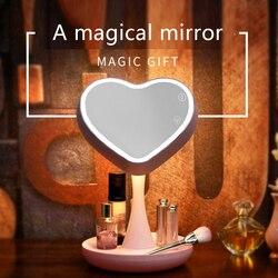 Lámpara LED de espejo de maquillaje ligero con sensor táctil y forma de corazón HG99