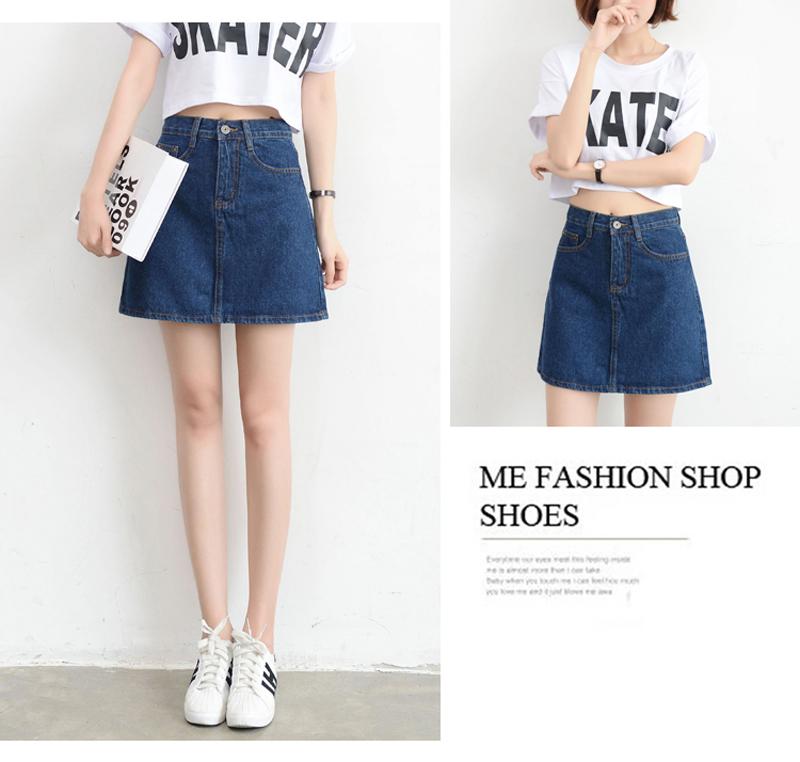 Lucyever Fashion Korean Summer Women Denim Skirt High Waist Black Mini Skirts Package Hip Blue Jeans Harajuku Plus Size Cotton 14