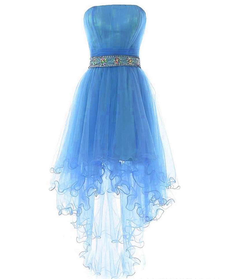 Robe De Soriee 2019 Sexy Strapless High Low Tulle Cocktail Dress Beads Sash Prom Bridal Party Dress Vestido De Noiva Cheap