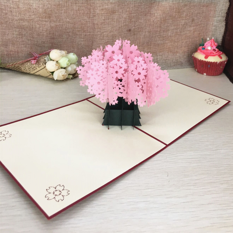 1pcs Laser Cut Kirigami 3D Pop UP Greeting & Gift Cards Gorgeous Cherry Blossoms Handmade Creative Thank You Cards Teachers' Day (3)