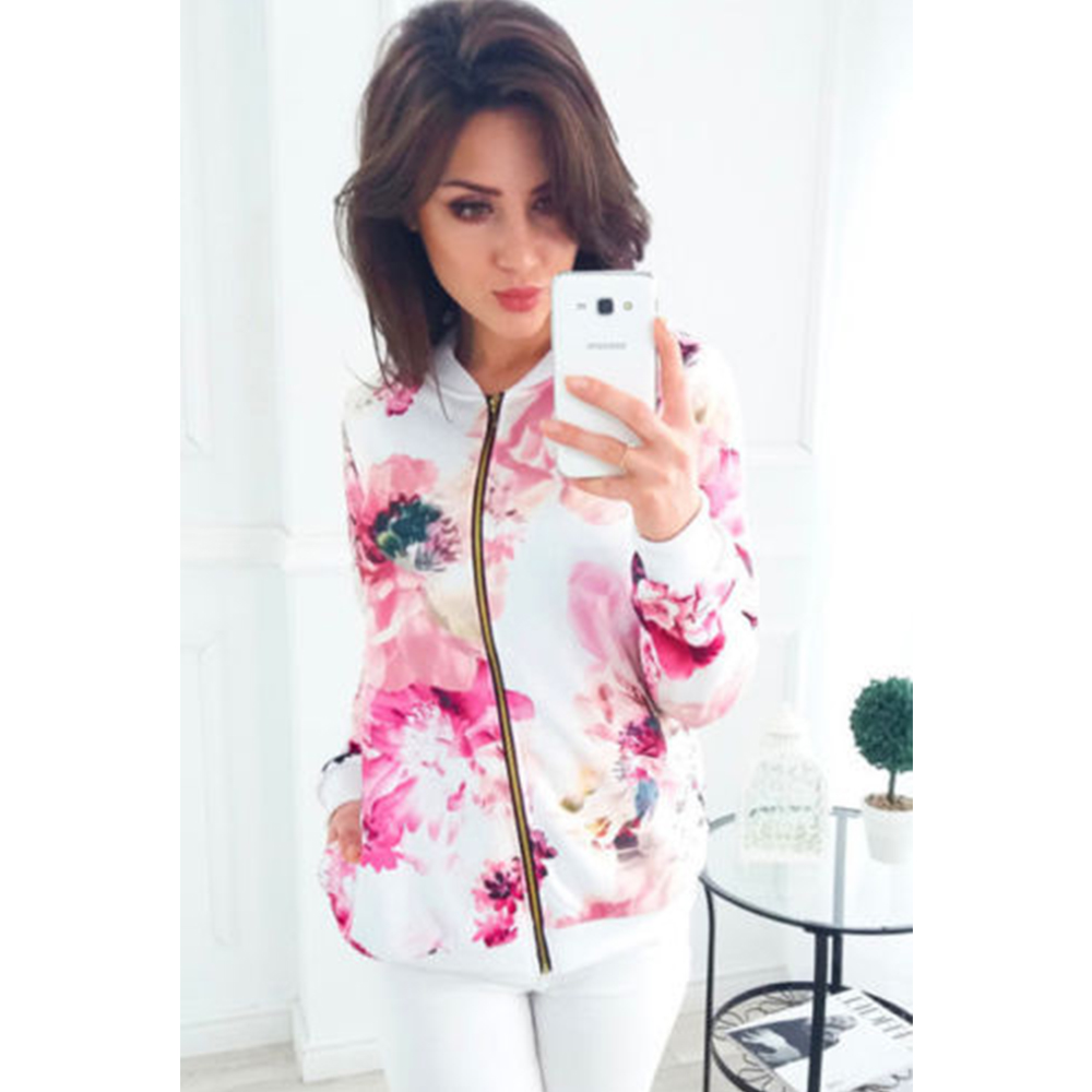 Women Flower Print Printing   Jacket   2019 Spring   Basic   Coat Casual Zipper Outwear   Jackets   Long Sleeve Bomber   Jacket   Plus Size