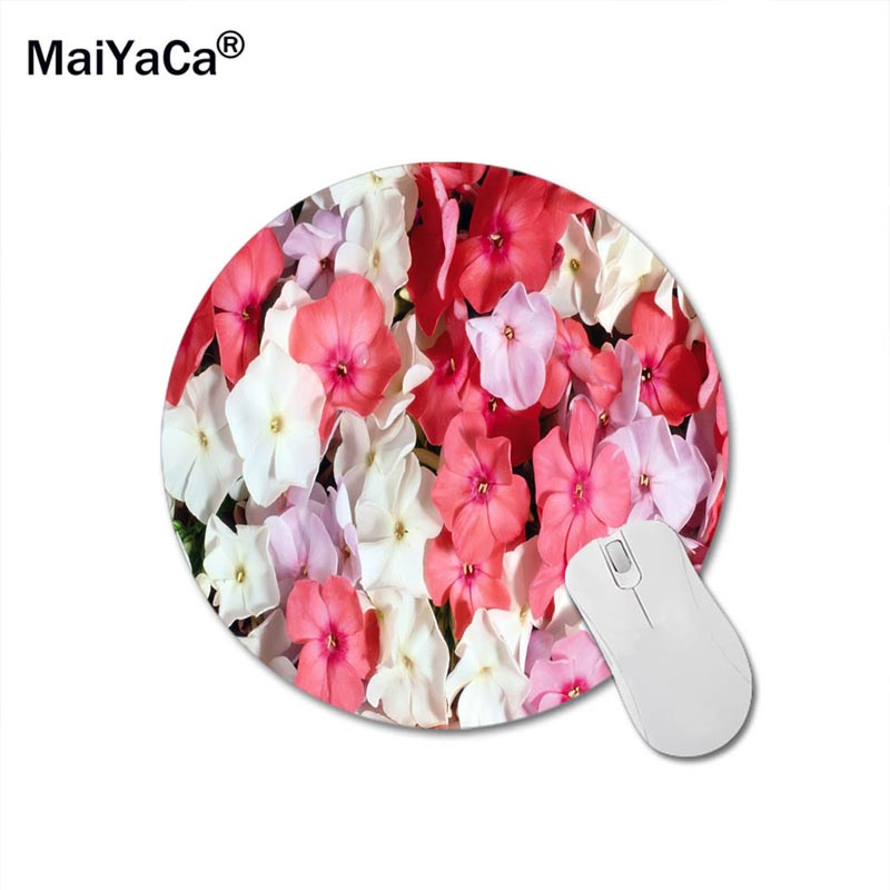 White And Pink Flowers Art Print Mouse Pad Anti-Slip Round Mousepad Gift Gaming Speed Mice Mats