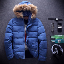 2015 Hot New Men's Solid Color Fur Collar Down Jacket Thick Solid Color Hooded Men's Jacket men's Winter Fashion Personality