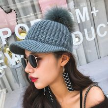 Winter Women's Wool Knitted Cotton Baseball Caps Colorful Adjustable Raccoon Fur Pom pom Snapback Hats Casquette Gorras