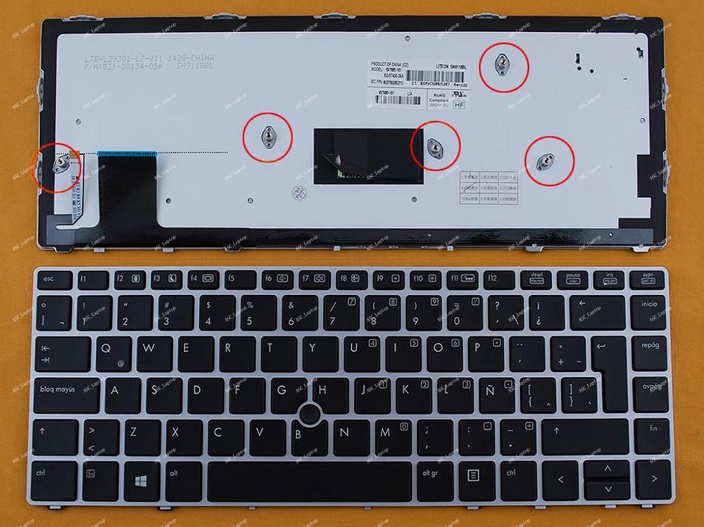 New La Latin Spanish Teclado Keyboard for HP Elitebook folio 9470m 9480m Laptop BACKLIT Silver Frame