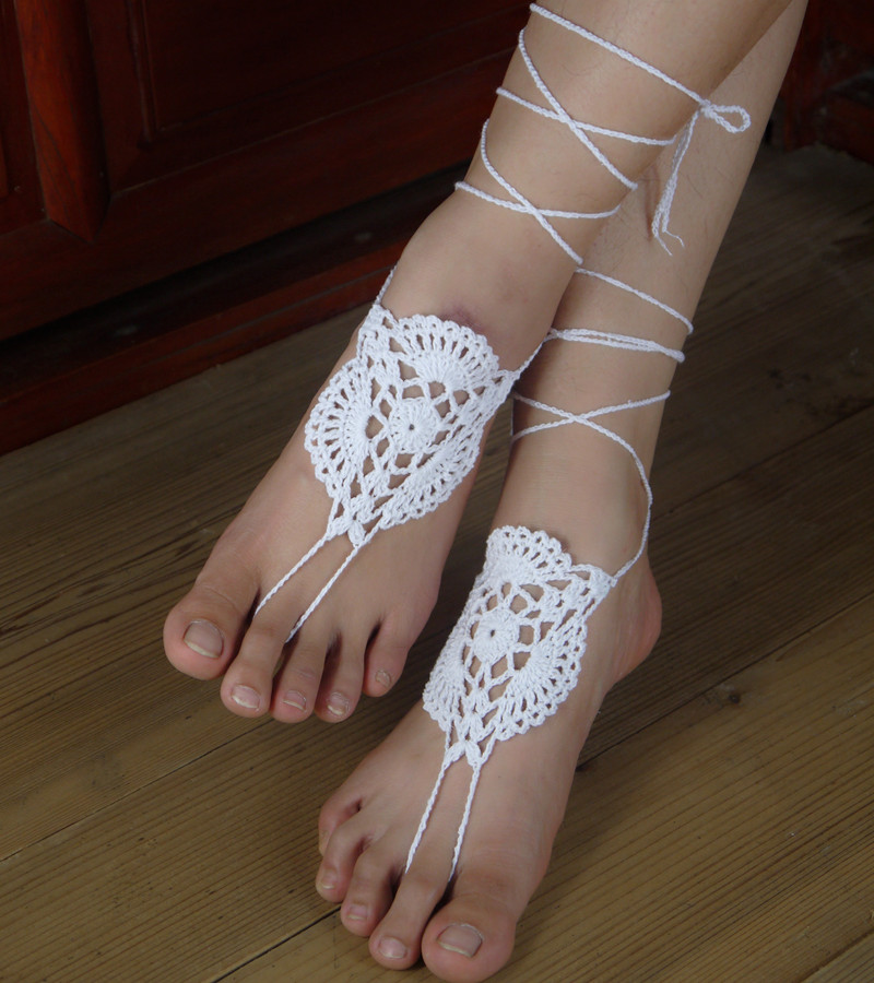jewelry ivory nude barefoot victorian bellydance anklet foot pool wedding shoes beach sandals steampunk usd lace media yoga sexy