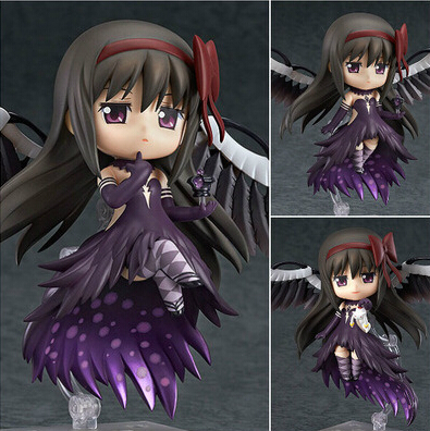 NEW hot 10cm Q version Puella Magi Madoka Magica Akemi Homura movable action figure toys collection christmas toy doll with box puella magi madoka magica tomoe mami gold short cosplay wig free two ponytails