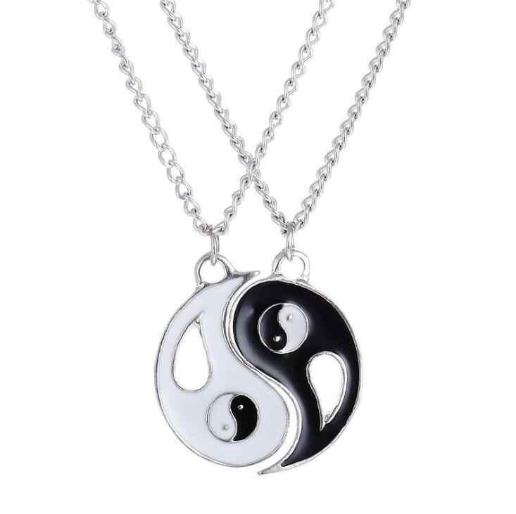 2018 gorąca sprzedaż nowy mistyczne Yin Yang wisiorek naszyjnik dla kobiet mężczyzn best friends prezent naszyjniki ze stali nierdzewnej para naszyjnik