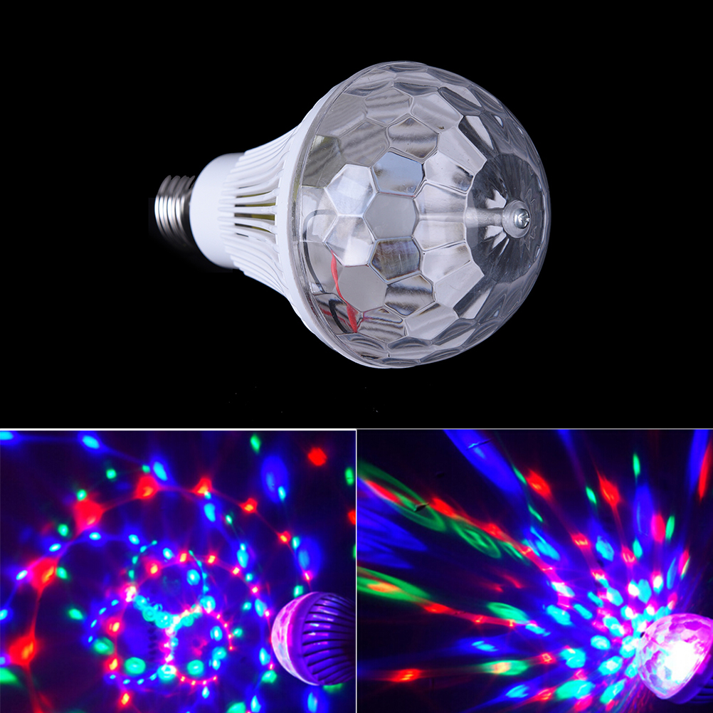 New 1pcs Auto Rotating RGB Crystal Stage Light 6W E27 85-260V Magic Double Balls DJ Party Disco Effect Bulb Lamp