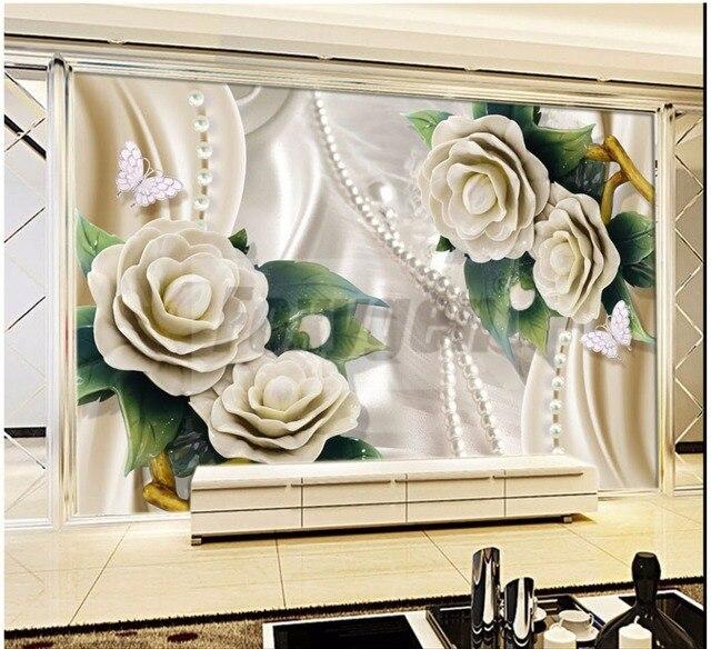 Personnalise Photo Art Papier Peint 3d Dessins De Fleurs Tv Fond