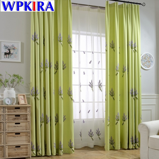 American Lavender Patterned Purple Embroidery Shade Green Curtain Cloth Living  Room Window Tulle Curtain French Windows