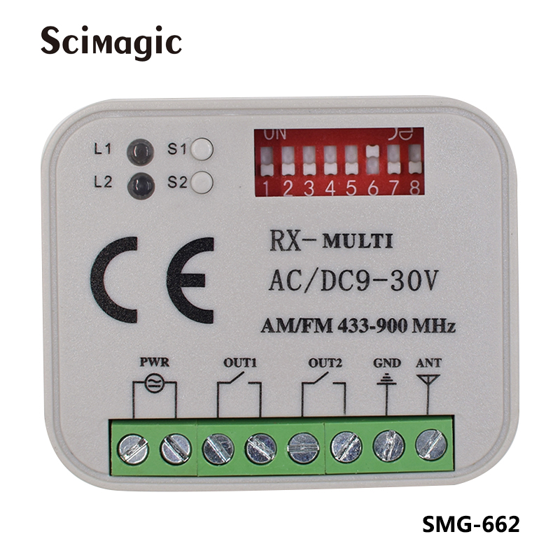 Universal Receiver For 310mhz 315mhz 390mhz 433mhz 868mhz Remote Control Multi Frequency 300-900MHz AC/DC 9-30V Receiver