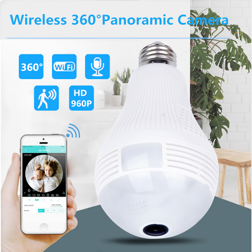 ZILNK Bulb Lamp WI-FI IP Camera 960P HD Panoramic 3D VR Fisheye Light 360 Degree Wireless Home Security CCTV Night Vision iCSee