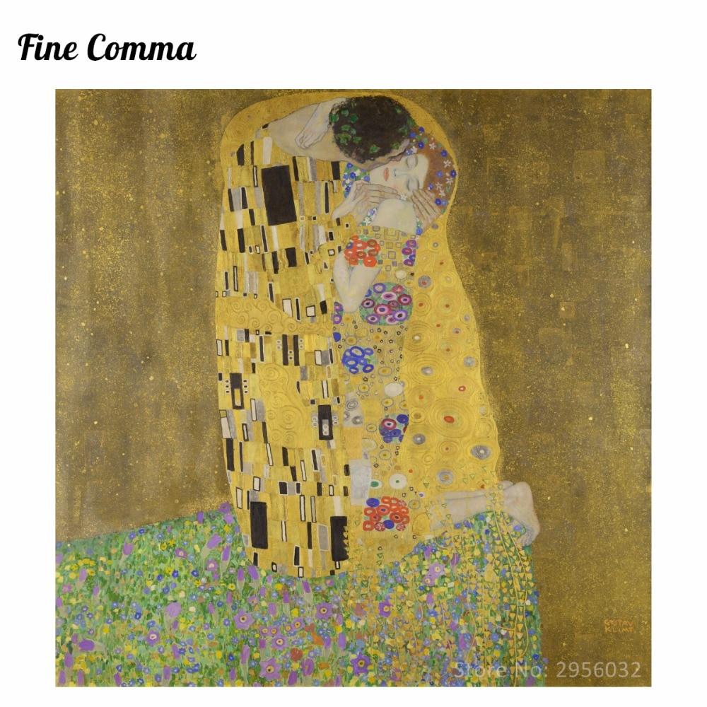 Poljub (ljubimci) avtorja Gustav Klimt slikarstvo na platnu stenske - Dekor za dom - Fotografija 1
