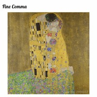 The Kiss(Lovers) by Gustav Klimt Canvas Painting Wall Art Pictures Hand Painted Oil Paintings Reproduction for Living Room